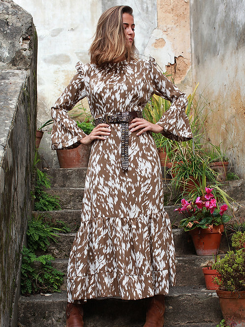 Vestido comprido abstracto beje Vintage Bazaar
