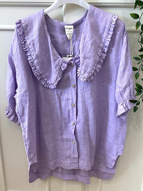 Blusa gola baby linho lilás