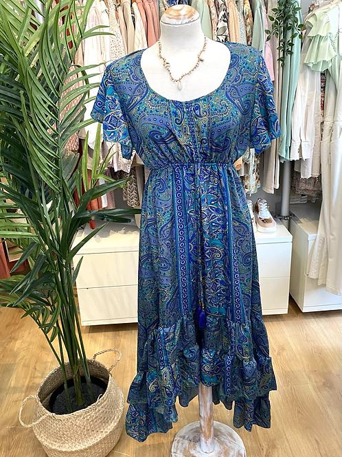 Vestido seda assimétrico azulão