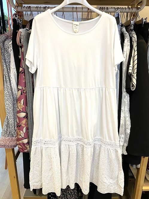 Vestido midi algodão e bordado inglês branco
