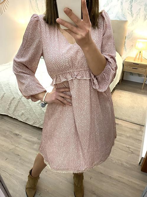 Vestido estampado rosa