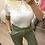 Thumbnail: T-shirt branca com gola florida amarelo
