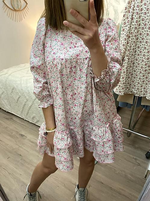 Vestido florzinhas com folhos rosa