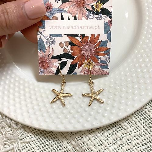 Brincos dourados estrela mar