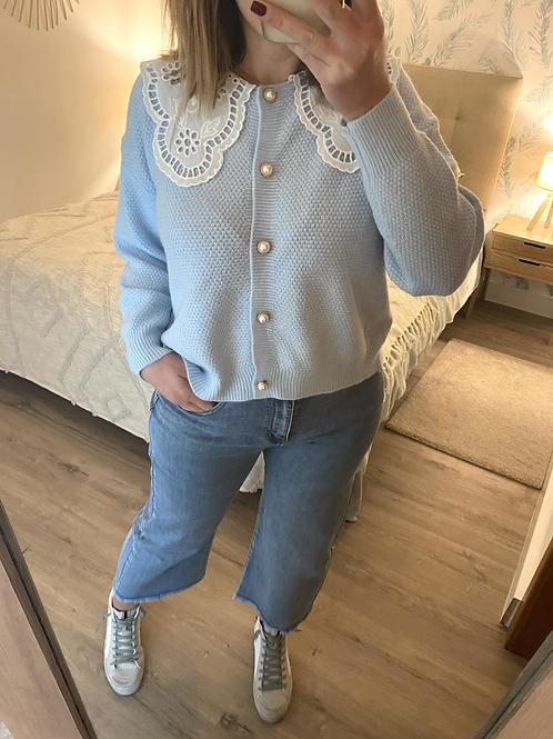 Cardigan de malha com gola bordada azul