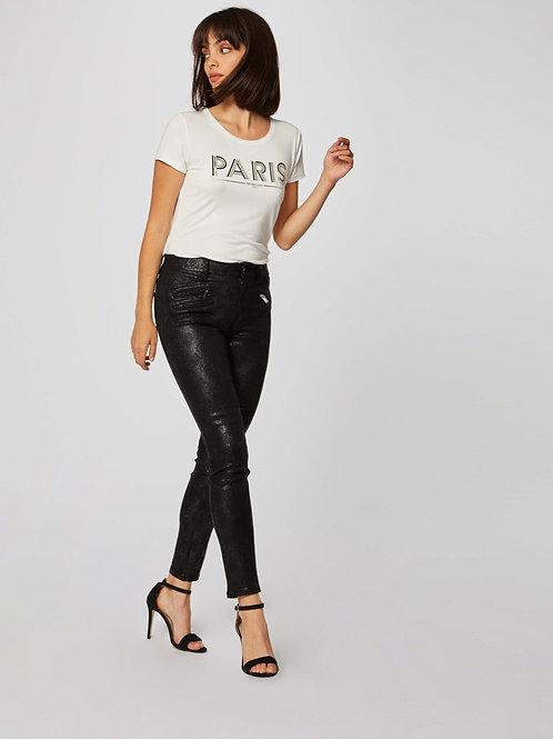 Calças pretas efeito cobra preto Morgan