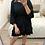 Thumbnail: Vestido liso folhos preto