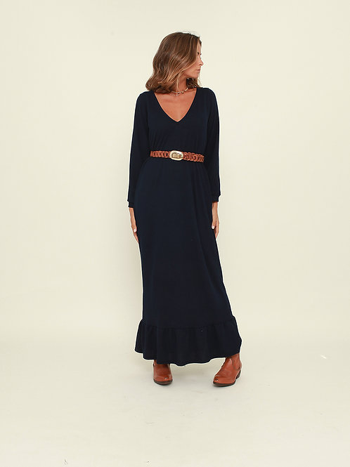 Vestido comprido liso azul Vintage Bazaar