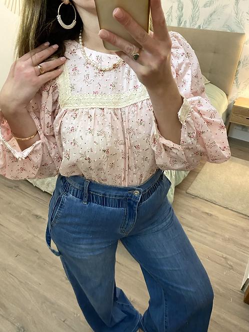 Blusa rosa florzinhas