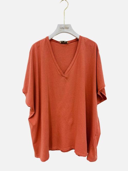 T-shirt algodão oversize salmão