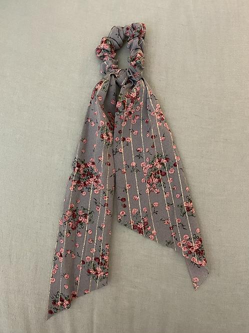 Lenço/elástico para cabelo flores cinza