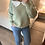 Thumbnail: Camisola de malha com gola bordada verde
