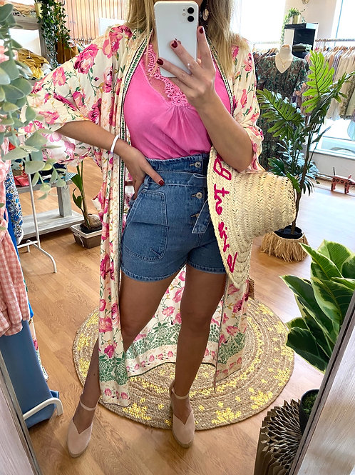 Kimono estampa rosa