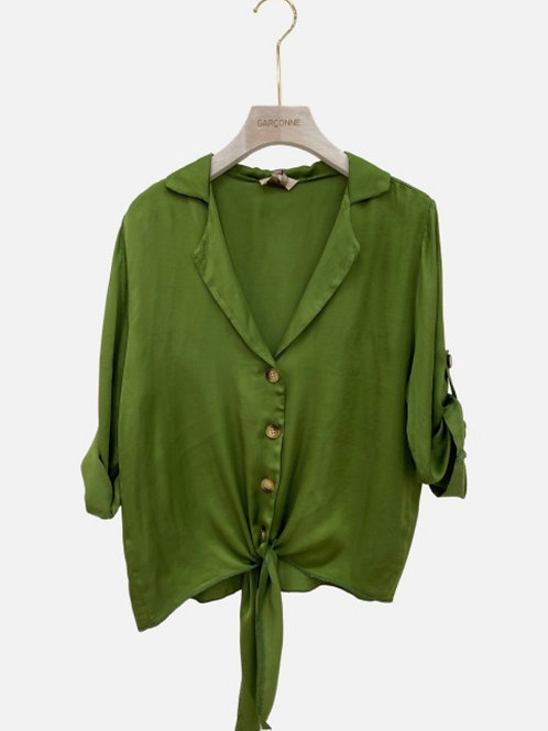 Blusa seda laçada verde