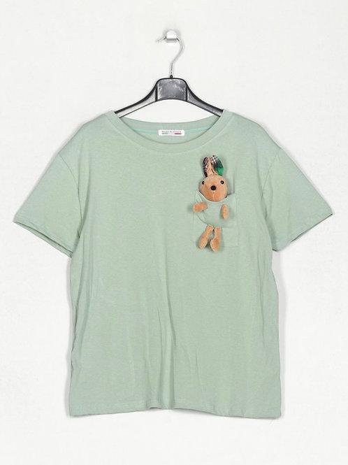 T-shirt peluche no bolso verde