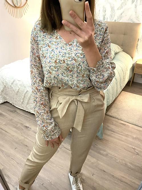 Blusa verde florzinhas