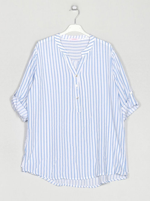 Camisa oversize riscas azul
