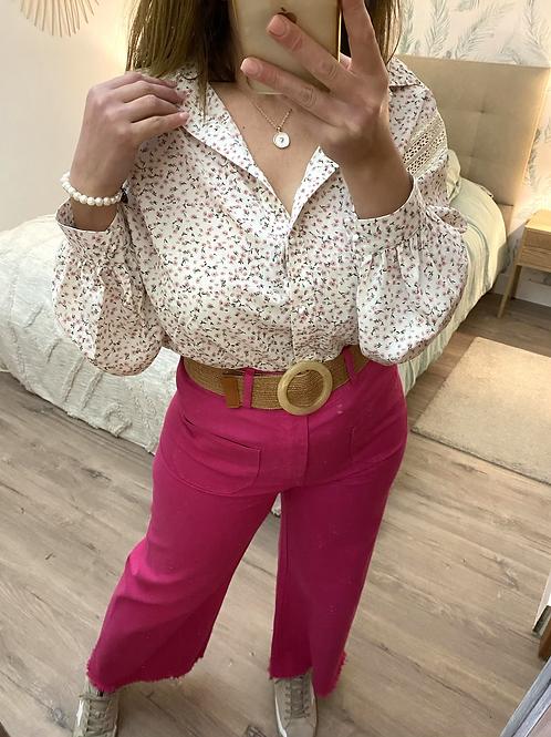 Blusa oversize florzinhas rosa c/renda