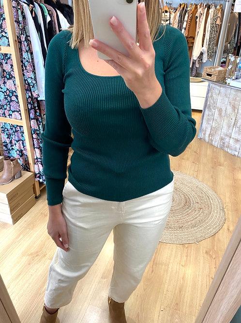 Camisola canelada verde