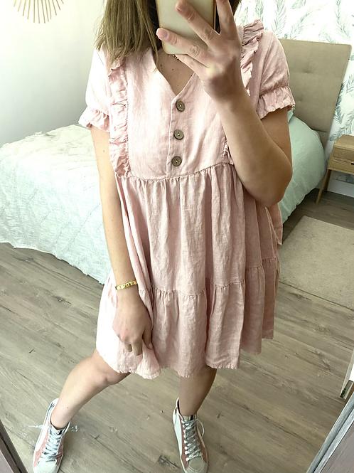 Vestido linho rosa c/botões