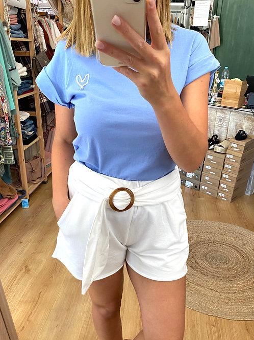 T-shirt básica coração azul