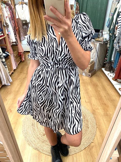 Vestido zebra decote V