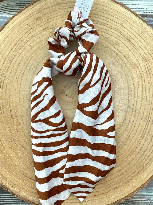 lenço para cabelo estampa zebra camel