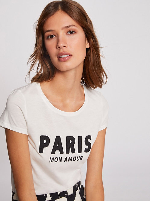 T-shirt branca Paris Morgan