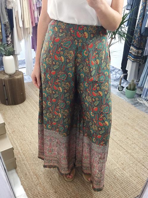 Calças pantalonas seda multi-cor