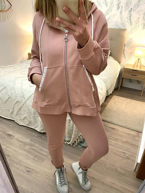 Conjunto de algodão com rendinha rosa