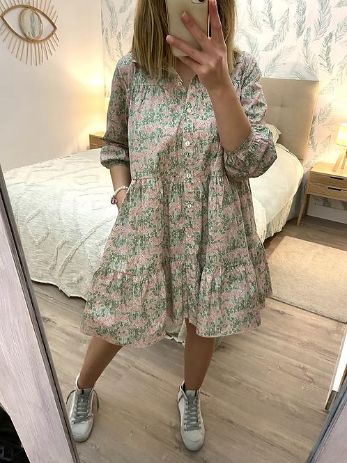 Vestido camisa folhos rosa/verde