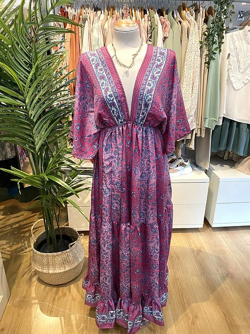 Vestido seda manga larga rosa/azul