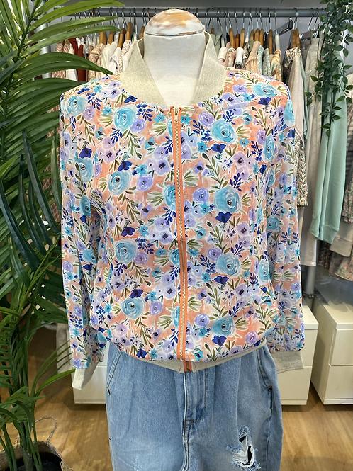 Bomber jacket flores salmão/azul