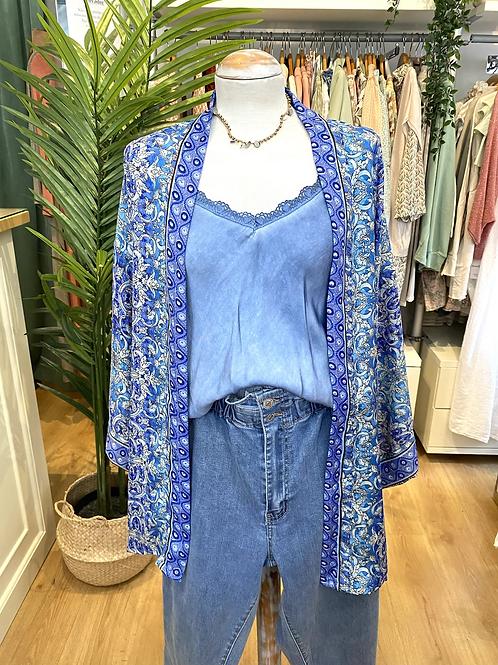 Kimono seda azulão