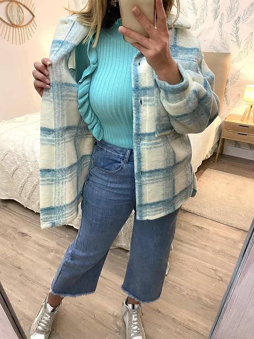Camisa/casaco xadrez turquesa/cru