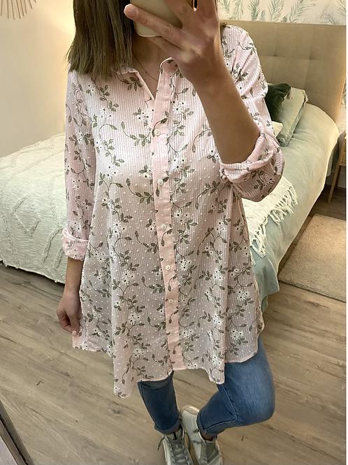 Camisa túnica flores rosa
