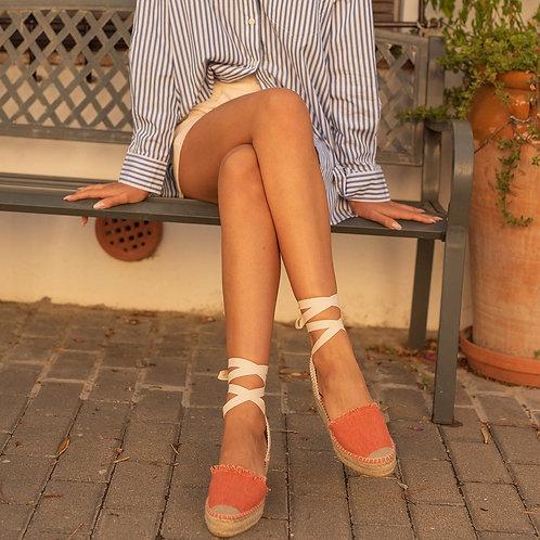 Sandália de cunha laranja Macarena