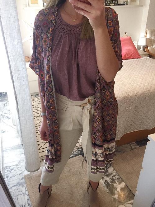 Kimono estampado alfazema