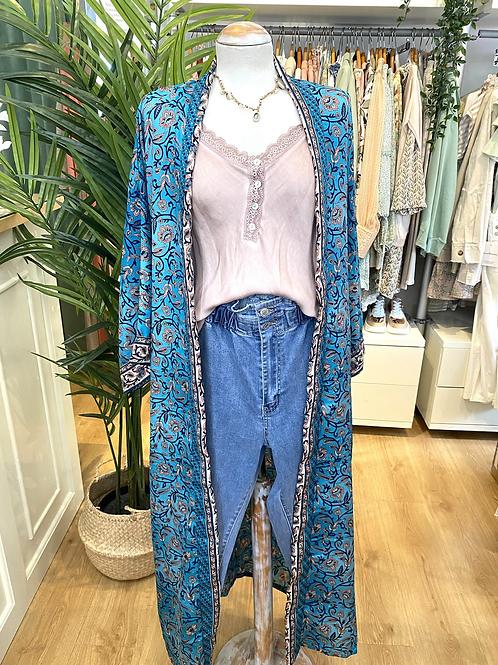 Kimono comprido seda azul