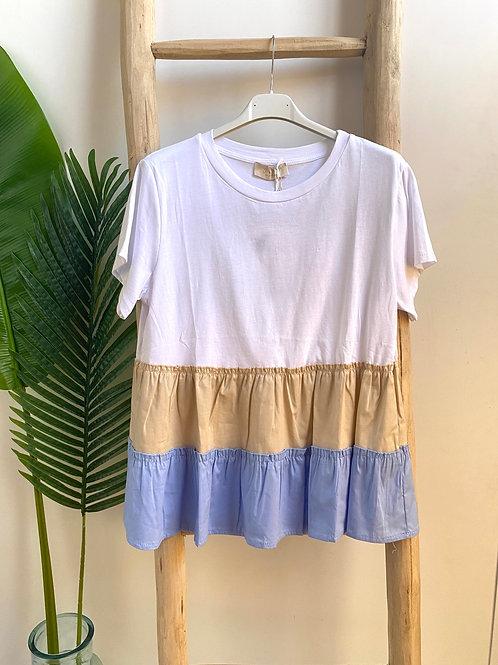 T-shirt combinada azul/beje
