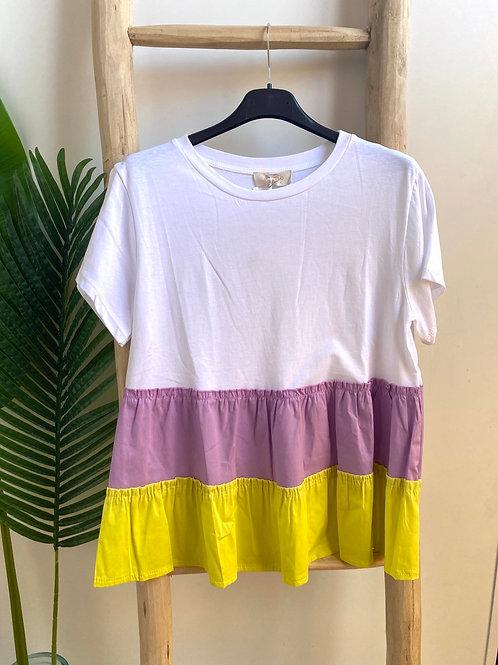 T-shirt combinada lilás/amarelo