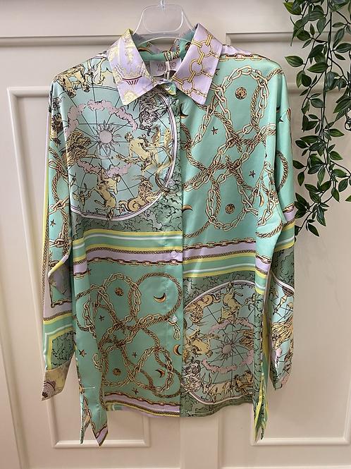 Camisa de cetim estampa verde