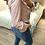 Thumbnail: Blusa estampada folhos rosa