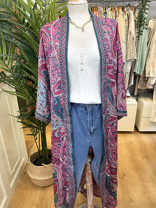 Kimono comprido seda rosa/verde
