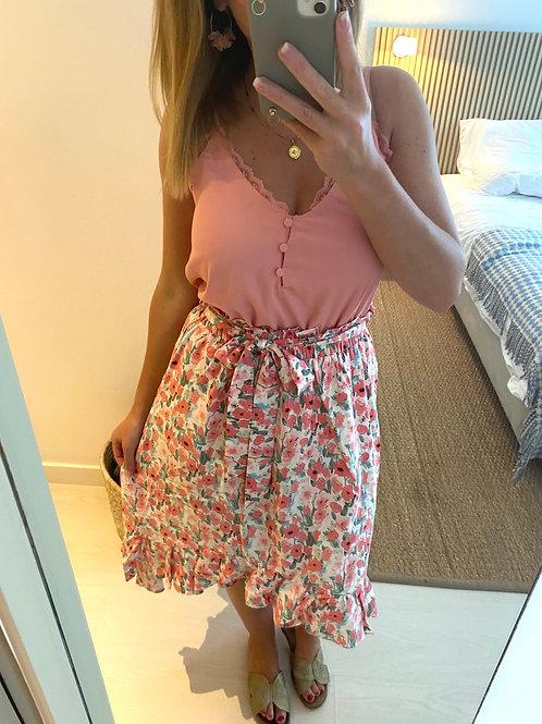 Saia assimétrica flores rosa