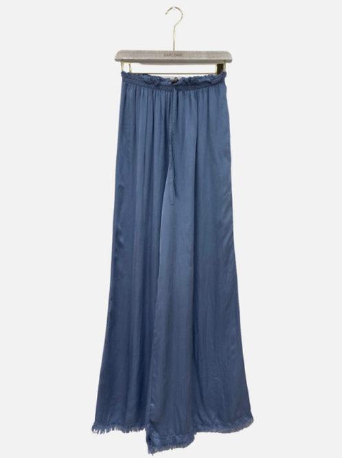 Calça pantalona seda azul