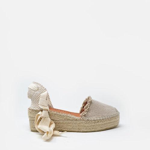 Sandália de cunha beje Macarena