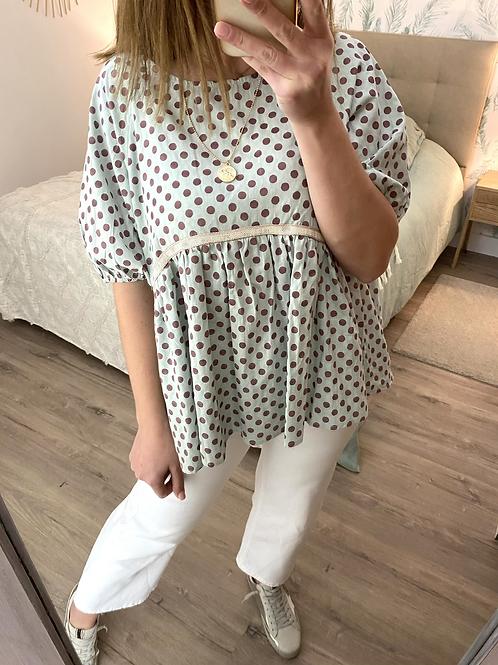 Blusa oversize bolinhas menta