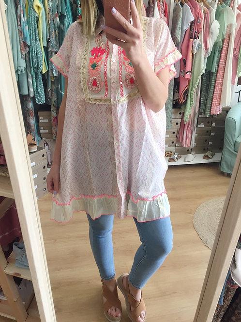 Túnica/vestido bordado rosa