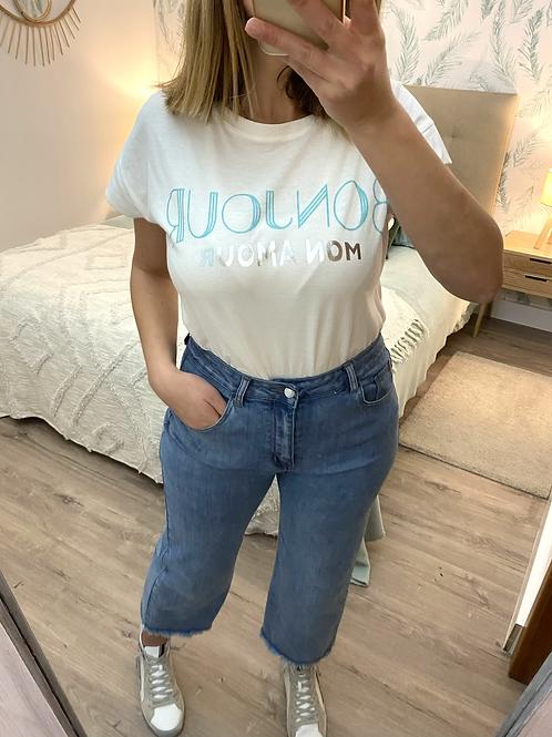 T-shirt branca Bonjour